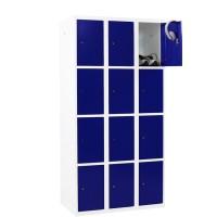 CAPSA metalen locker met 12 smalle vakken (wit - blauw)
