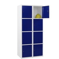 CAPSA metalen locker met 8 brede vakken (wit - blauw)